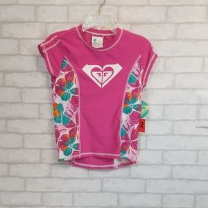 Roxy girl floral pink  swim top size 12